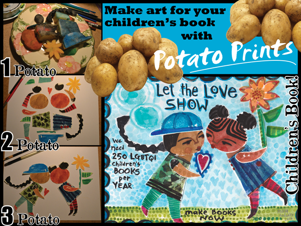 Make art for your children's book with Potato Prints